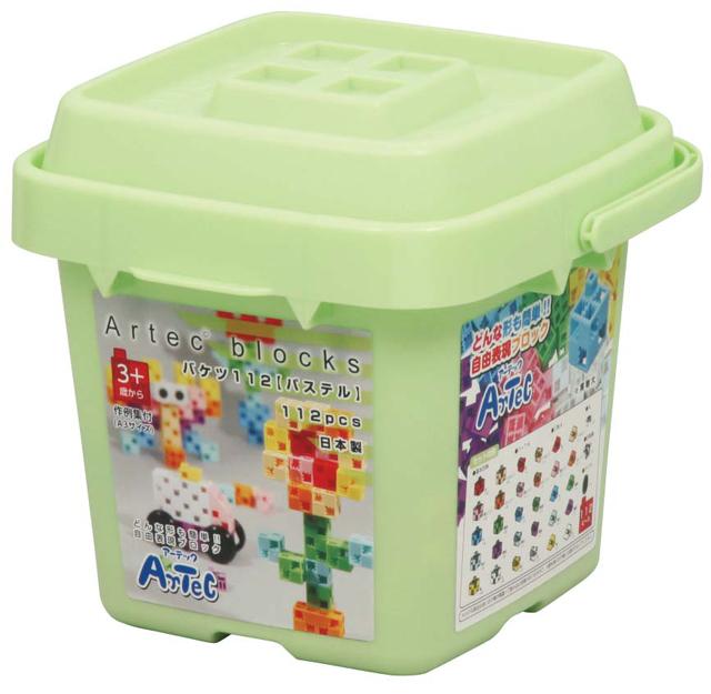 【教材 知育玩具 遊び創意】 ブロック バケツ112 パステル