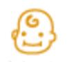 【消せるスタンプ】 フリクションスタンプ (赤ちゃん インクオレンジ)