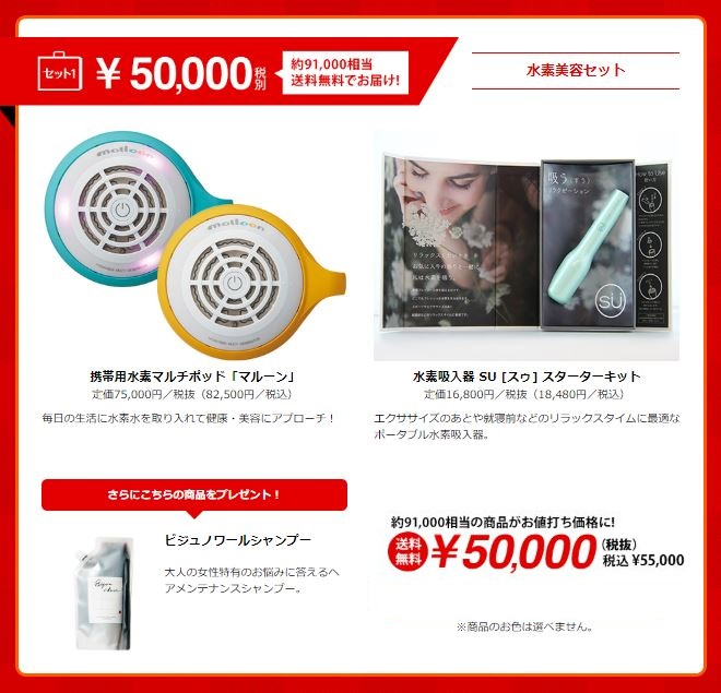WINTER BAG 2020水素美容セット!(水素風呂「マルーン」 ・水素吸入器・シャンプー)