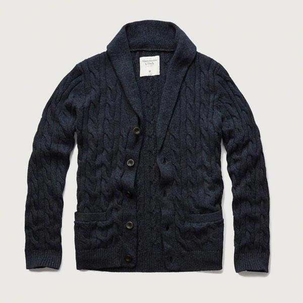 アバクロ Abercrombie&Fitch アバクロンビー&フィッチ カーディガン:Cable Knit Shawl Cardigan - Navy