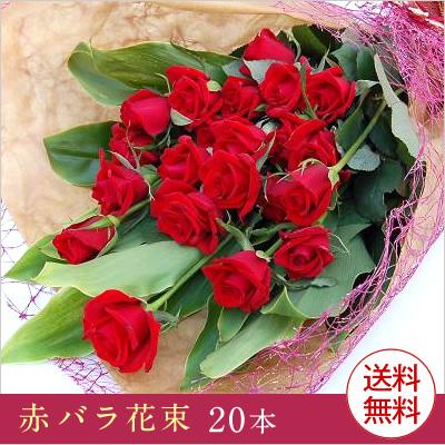 【送料無料】 赤 バラ花束20本