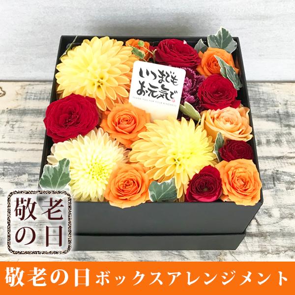 【送料無料】 ダリアとバラのボックスフラワーアレンジメント(オレンジダリア)