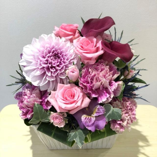 【送料無料】 御祝アレンジメント<おまかせ・紫・5,000円>