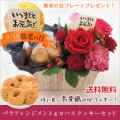 敬老の日 選べる3カラーバラアレンジメント&ロハスクッキーセット 誕生日、送料無料 おじいちゃん おばあちゃんに贈る 花ギフト