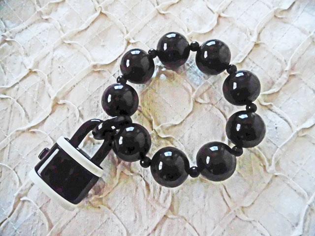 アンジェラ、ルケットチャームボールストレッチブレスレットBL6001-BK ブラック