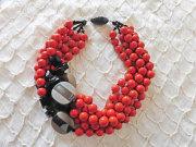 アンジェラ、5連ボール&スクエアポイントネックレスNK8001-OR オレンジ
