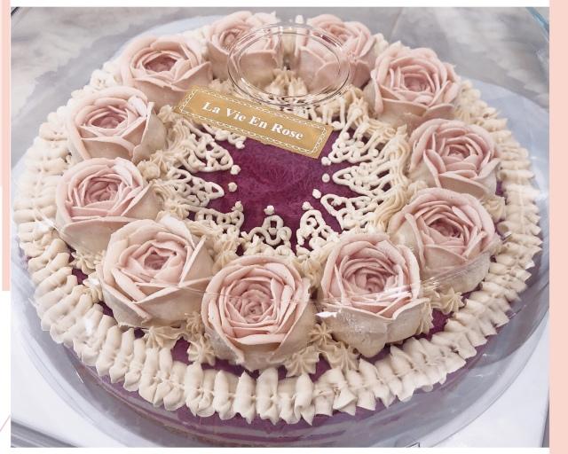 ≪Organic Rawフラワーケーキ≫ アムール/恋している (ピオーネ&ブラックベリーチーズケーキ味)18cmホール