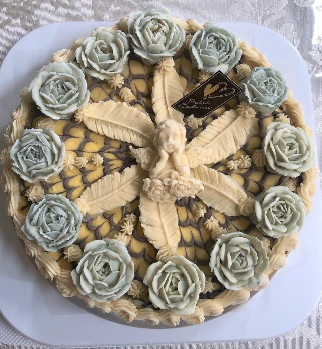 ≪Organic Rawフラワーケーキ≫ モントレゾー/私の宝物 (マンゴーケーキwithトロピカルフルーツ味)18cmホール