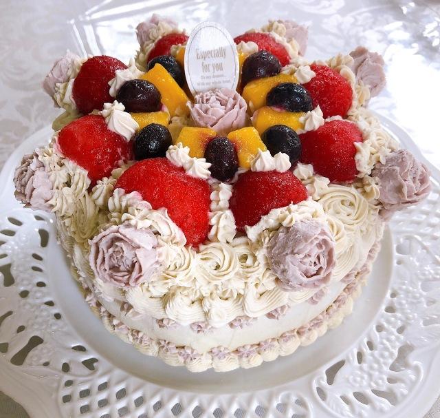 <Organic ヴィーガンケーキ>エンジェル・フルーツジョリ (シャインマスカットクリーム フルーツサンド)15cmホール
