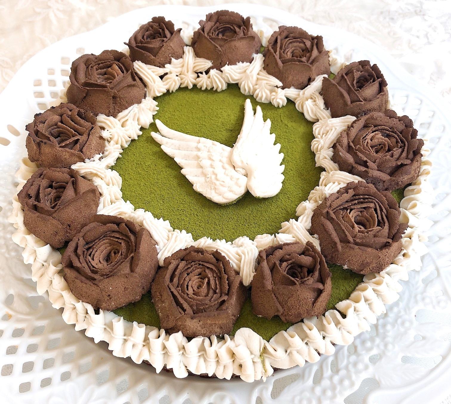 ≪Rawフラワーケーキ≫ 天使の休息 (ピスタチオGreen tea&チョコレート味)18cmホール