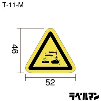 腐食注意ラベルT-11-Mのサイズ画像