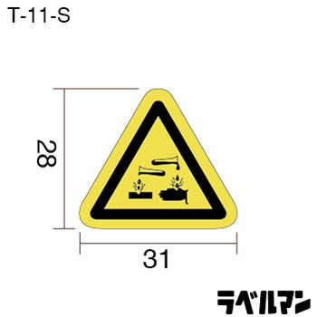 腐食注意ラベルT-11-Sのサイズ画像