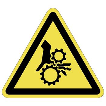 ギア巻込み注意ラベルT-16-Lの画像