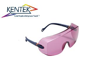 レーザー保護メガネ KWL-7101U オーバーグラス (アレキサンドライト) ピンク 可視光透過率 45%