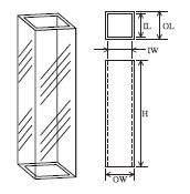 蛍光フローセル(4面透明・両端開放) T-3-FL-ES-10