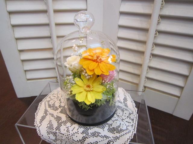 プリザーブドフラワーアレンジ ガラスドーム型