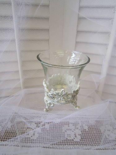 ホワイトローズ ガラスベース
