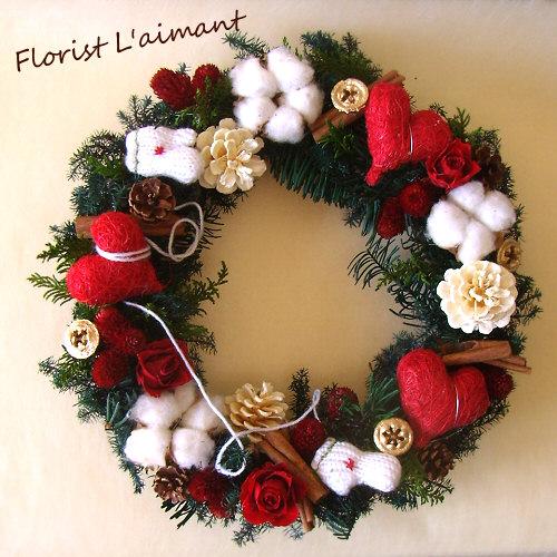 プリザーブドフラワー「メリーメリー」クリスマスリース01