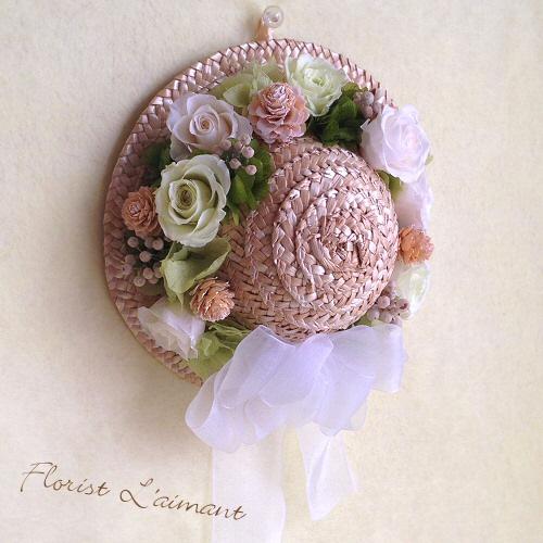 麦わら帽子の花飾り02