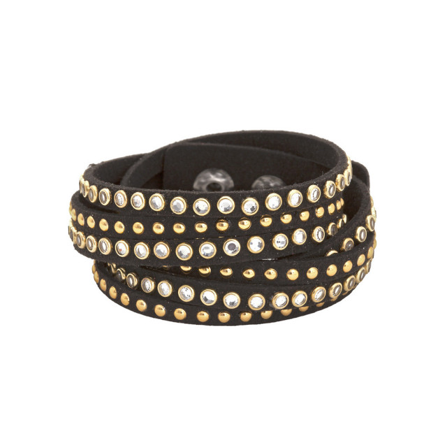 BOHO BETTY レザーブレスレット Studded Wraps / Cats Eye Stud Black