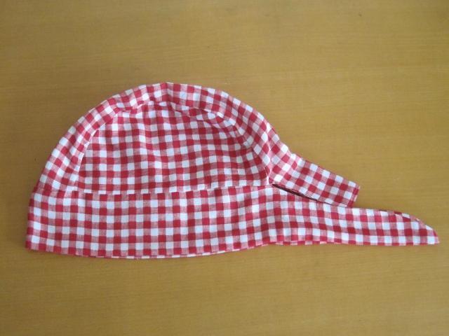 バンダナ帽子,赤チェック,医療用,帽子