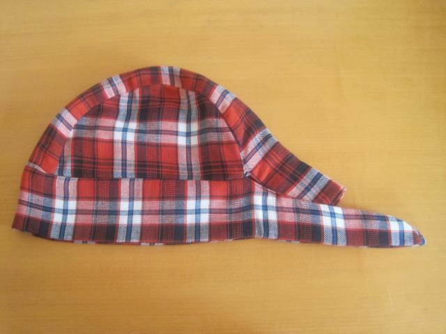 バンダナ帽子,赤,タータンチェック,医療用,帽子