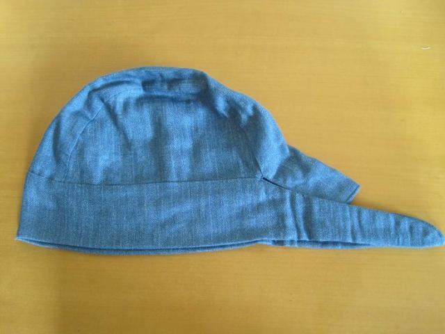 バンダナ帽子,デニムブルー,チェック,抗がん剤,脱毛