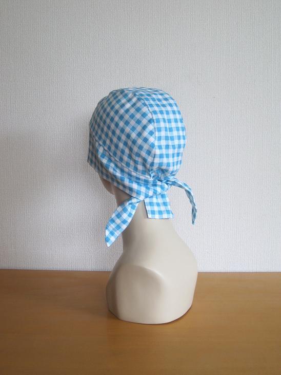 バンダナ帽子,ライトブルー,チェック,抗がん剤,脱毛