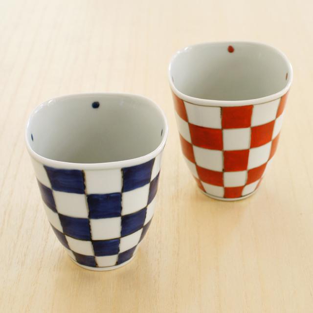 そうた窯 市松角フリーカップ(青・赤)