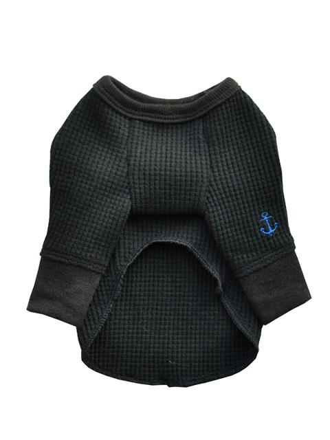 ワッフルロングTシャツ ブラック2号