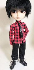 HS赤×黒 タイ付きシャツテヤンjt013