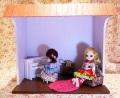 MoofRoom 2Room白い壁のピアノルームセット ドール2体付♪