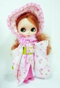 ネオブライス「ブリング・ブリング・パーティー・ファー」ヌード+着物ドレスセットピンク花柄
