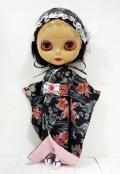 USEDネオブライス「プリマドーリー エボニー」ヌード+着物ドレスセット黒金魚柄ki1472