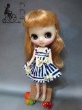 CCTミディサイズブルー&ホワイトフローラルストライプワンピースcmb053