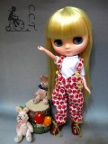 CCTミディサイズ Tシャツ&りんご柄オーバーオールホワイトセットcmb050