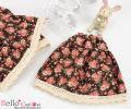 CC 花柄 ロングスカート ブラウン PF-1