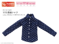 1/12長袖シャツ ネイビー×ホワイトドット PIC181-NWD