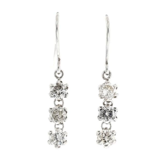 ピアスレディースPT900プラチナダイヤモンド0.25ctスリーストーンララクリスティーorderHighjewelry