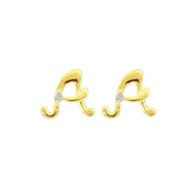 ピアスレディースK18ダイヤモンドイニシャルAララクリスティーorderHighjewelry