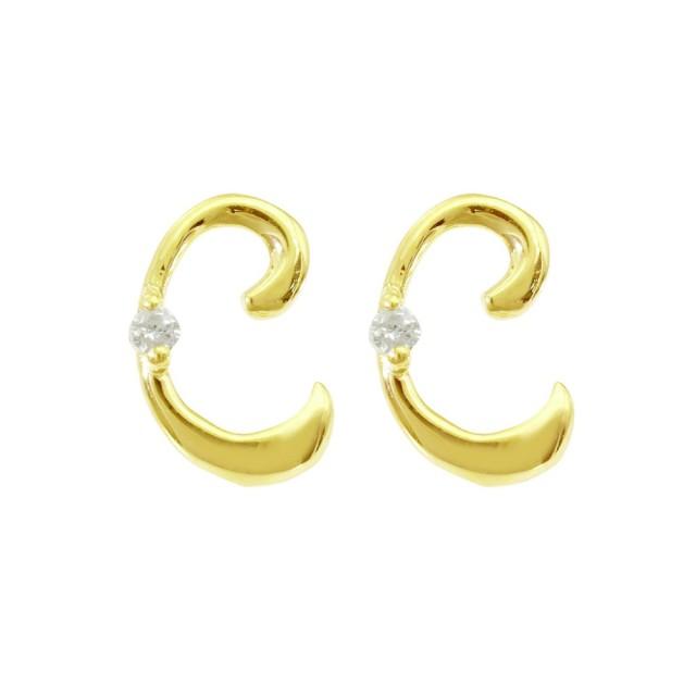 ピアスレディースK18ダイヤモンドイニシャルCララクリスティーorderHighjewelry