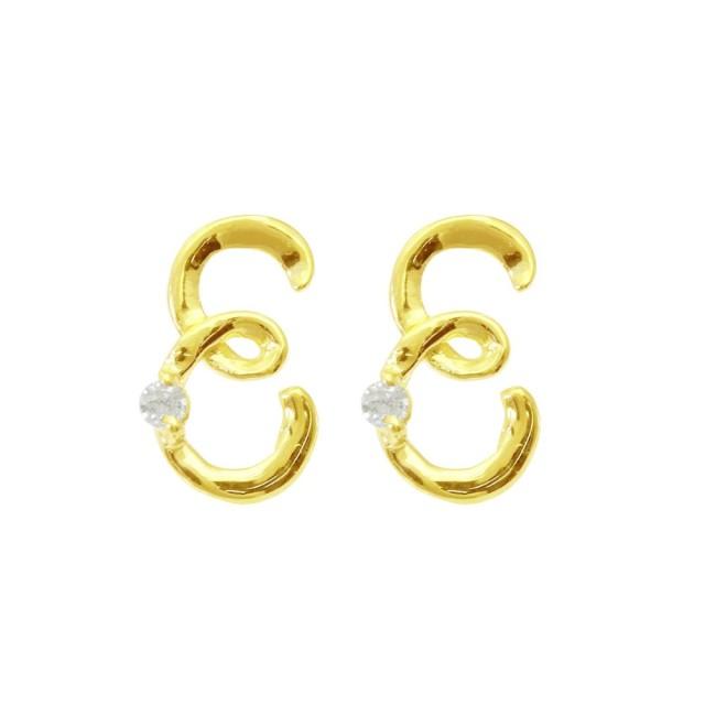 ピアスレディースK18ダイヤモンドイニシャルEララクリスティーorderHighjewelry