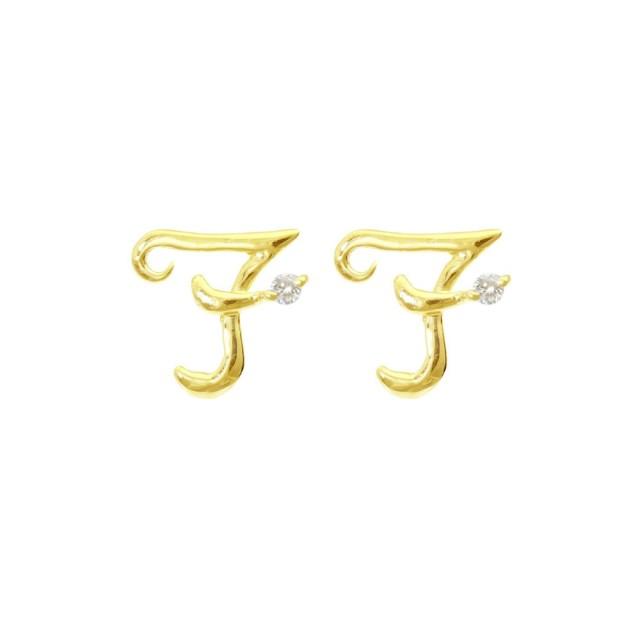 ピアスレディースK18ダイヤモンドイニシャルFララクリスティーorderHighjewelry