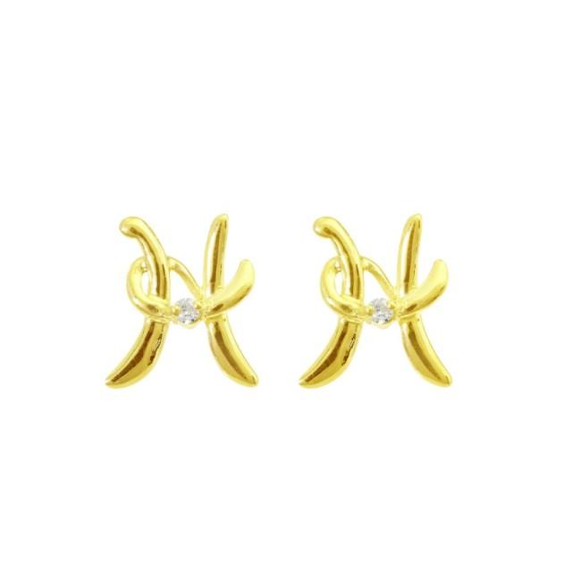 ピアスレディースK18ダイヤモンドイニシャルHララクリスティーorderHighjewelry