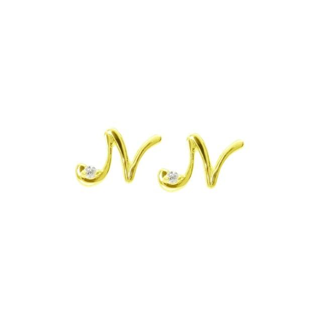ピアスレディースK18ダイヤモンドイニシャルNララクリスティーorderHighjewelry