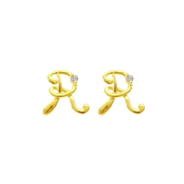 ピアスレディースK18ダイヤモンドイニシャルRララクリスティーorderHighjewelry