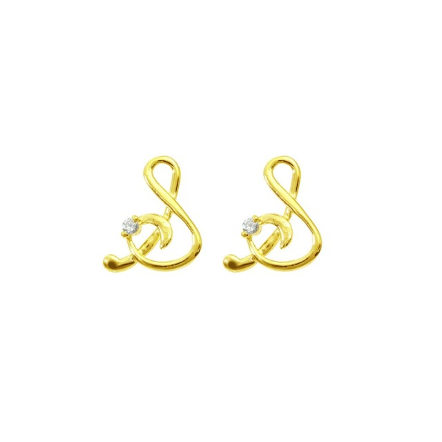 ピアスレディースK18ダイヤモンドイニシャルSララクリスティーorderHighjewelry
