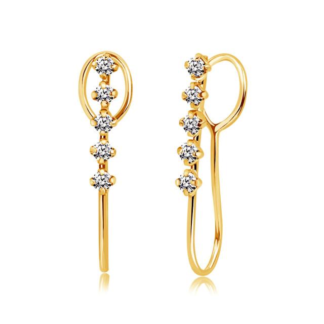 ダイヤモンド イヤーカフ イヤリング 両耳 ダイヤモンド 10石 計0.14ct K18 ゴールド