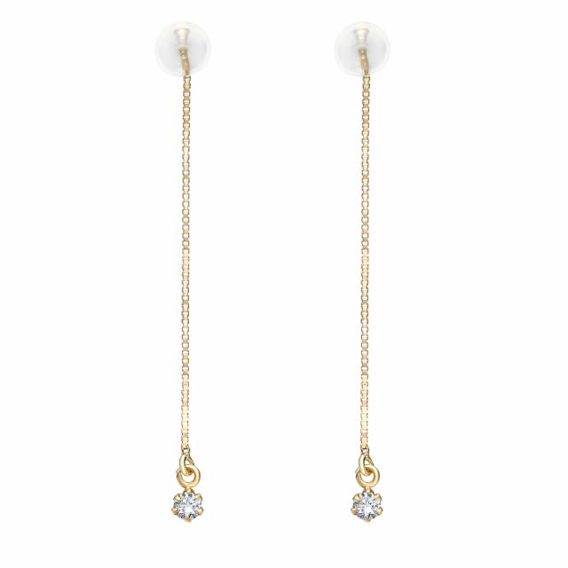 K18 ダイヤモンド 0.1ct アメリカン ピアス レディース 18金ゴールド le71-0001-yg ララクリスティー