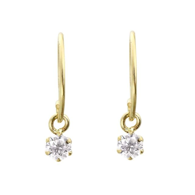 K18 ダイヤモンド 0.1ct  フックピアス レディース 18金ゴールド le71-0002-yg ララクリスティー